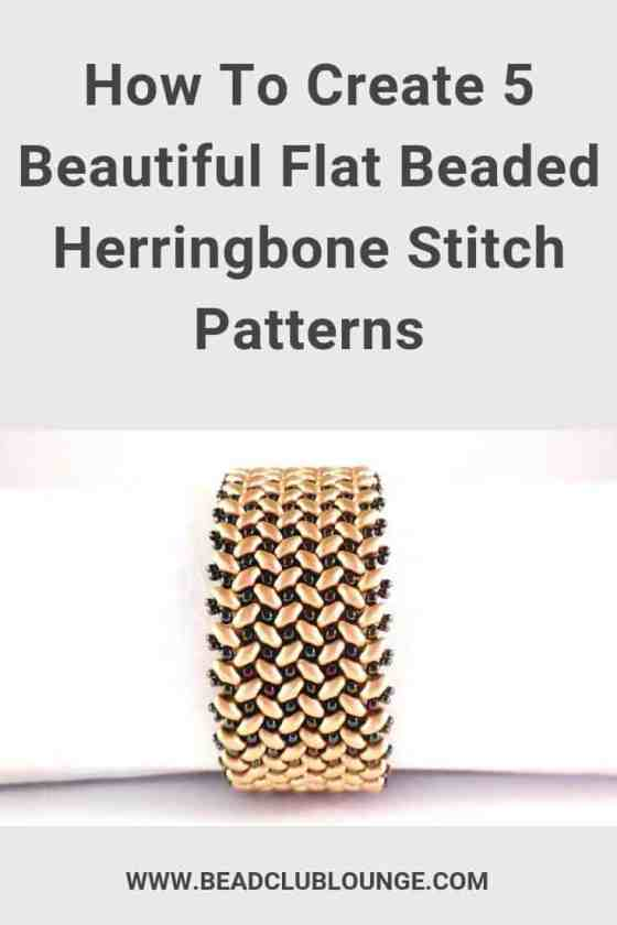 Here's a list of beautiful flat beaded Herringbone Stitch patterns. These YouTube video tutorials demonstrate how to make beaded necklaces and bracelets using SuperDuo beads, seed beads and more. #herringbonestitch #beading #tbcl