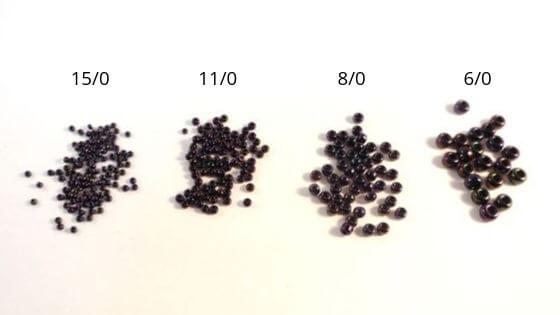 A comparison of seed bead sizes.