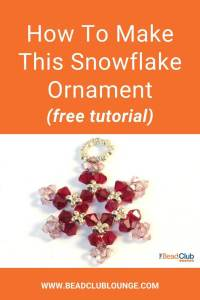 Here's an easy snowflake ornament pattern that's perfect for Christmas. Learn how to DIY beaded snowflakes with this step-by-step craft tutorial. Personalize yours and make them in any color using glass beads or Swarovski crystal beads. #beadedsnowflake #christmasdecor #beading #tbcl