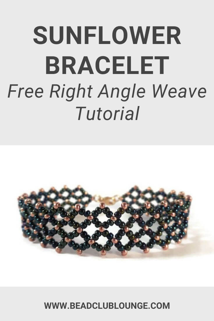 Click here to make this free Right Angle Weave bracelet pattern. This seed bead pattern is simple but there's beauty in simplicity. Click here to DIY the Sunflower Bracelet tutorial and make your own beaded jewelry. #beading #rightangleweave #freepattern #tbcl