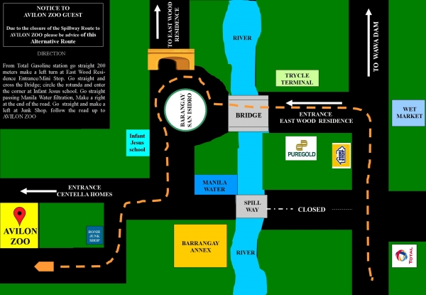 map of how to go to avilon zoo in montalban
