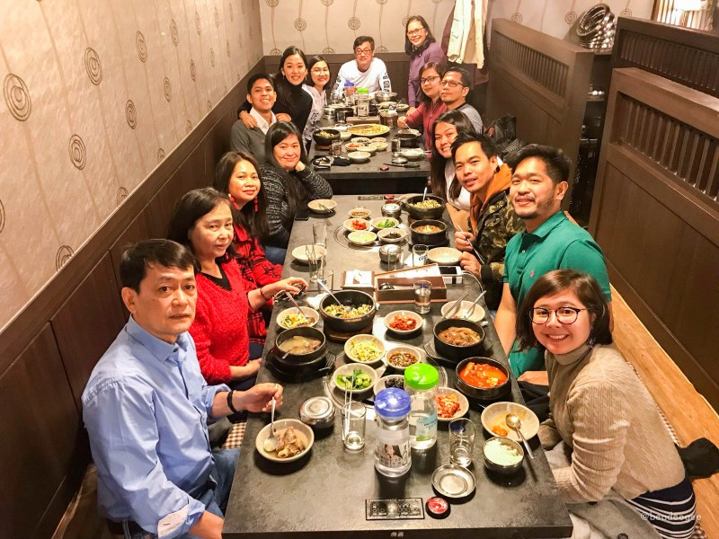A big family having korean lunch in Woori Garden Myeongdong
