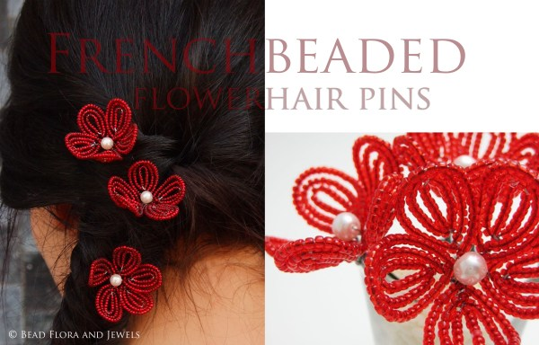 TUTORIAL - French beaded flower hair pin tutorial
