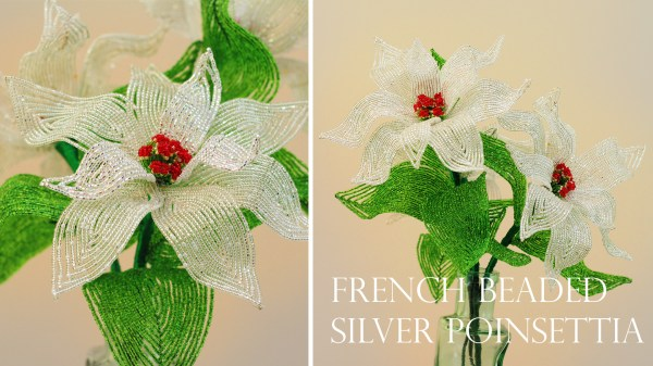 French beaded silver poinsettia kit