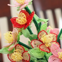 French beaded fantasy wildflowers by Bead Flora and Jewels, Fen Li, Bead Flora Studio