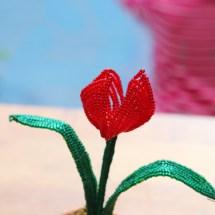 French beaded flowers: mini tulip pot by Fen Li, Bead Flora and Jewels, Bead Flora Studio