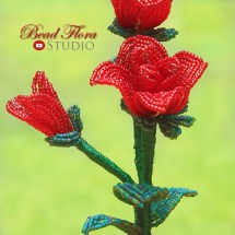 French beaded mini rose pot by Bead Flora Studio, Fen Li, Bead Flora and Jewels