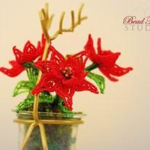 French beaded mini poinsettias by Bead Flora Studio