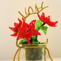 French beaded mini poinsettias by Bead Flora Studio