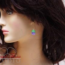 French beaded lilac bud earrings