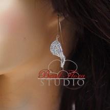 French beaded silver leaf earrings