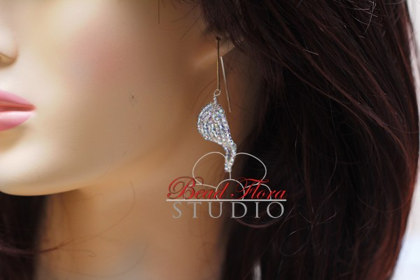 French beaded silver leaf earrings KIT