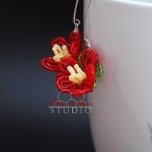 French beaded spring blossom earrings