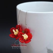French beaded spring blossom earrings
