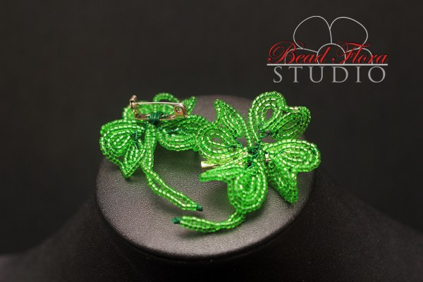 French beaded four leaf clover (shamrock) projects (Pendant, Earrings, Hair Pin, Ring, Brooch)