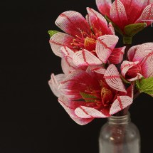 French beaded pink magnolia by Fen Li Bead Flora Studio