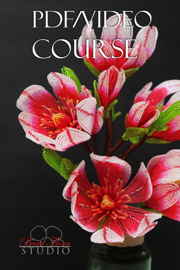 French beaded pink magnolia video course