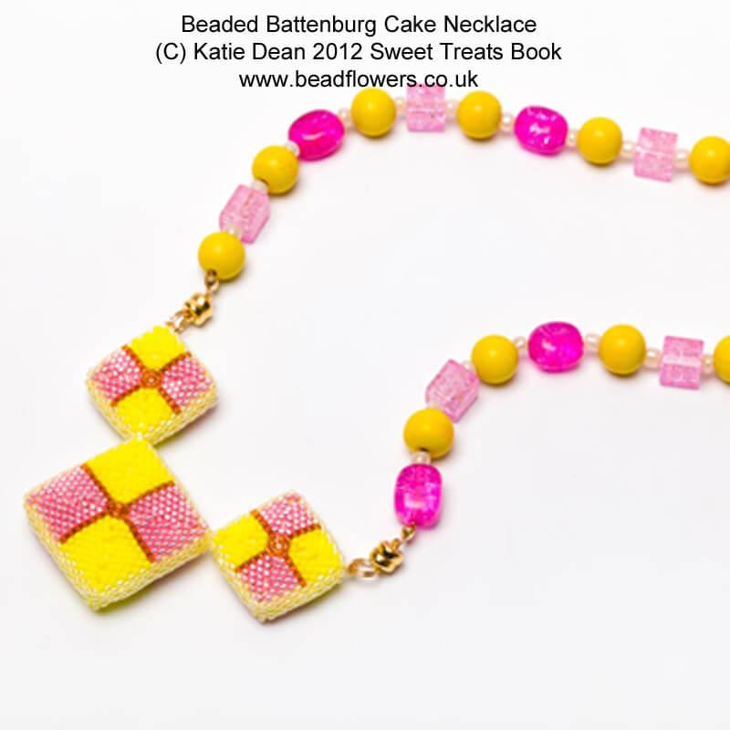 Battenburg Cake Jewellery pattern, Sweet Treats book, Katie Dean, Beadflowers