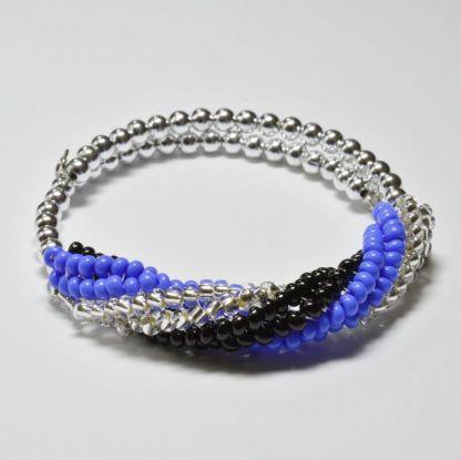 Beginner Herringbone Spiral Bracelet pattern. Herringbone twist bangle kit. Katie Dean, Beadflowers