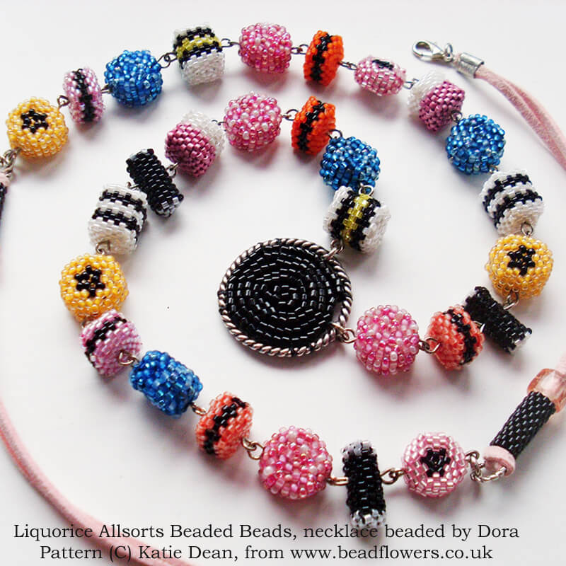Liquorice allsorts pattern for beaded beads to make jewellery, by Katie Dean, Beadflowers
