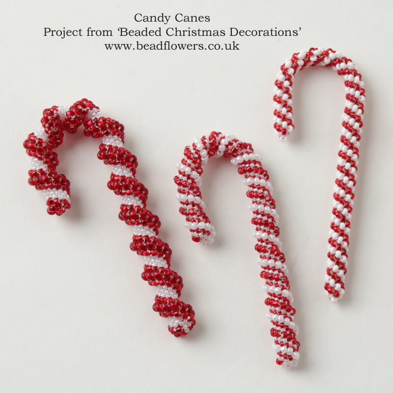 Beaded Christmas Decorations, beaded candy canes pattern, Katie Dean, Beadflowers