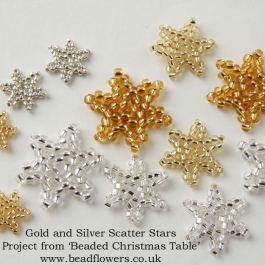 Beginner Peyote stitch stars, Beaded Christmas Table, Katie Dean, Beadflowers