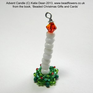 Beaded Advent Candle gift tag pattern, Beaded Christmas gifts and cards, Katie Dean, Beadflowers
