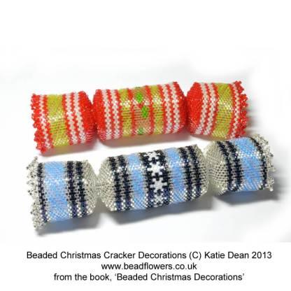 Christmas cracker beading pattern, Beaded Christmas Decorations ebook, Katie Dean, Beadflowers
