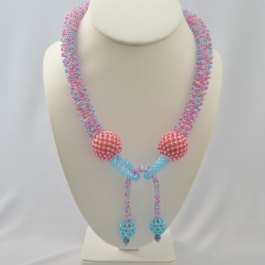 Bubblegum Netted Necklace Pattern, Katie Dean, Beadflowers