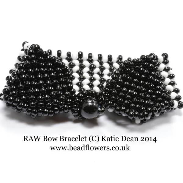 Bow Bracelet Pattern, Right Angle Weave, Katie Dean, Beadflowers, Beginner Beading Projects