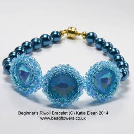 Crystal Rivoli and Pearls Bracelet Pattern, Katie Dean, Beadflowers