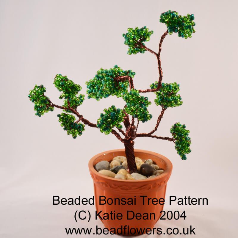Beaded Bonsai Tree: French beaded loop techniques
