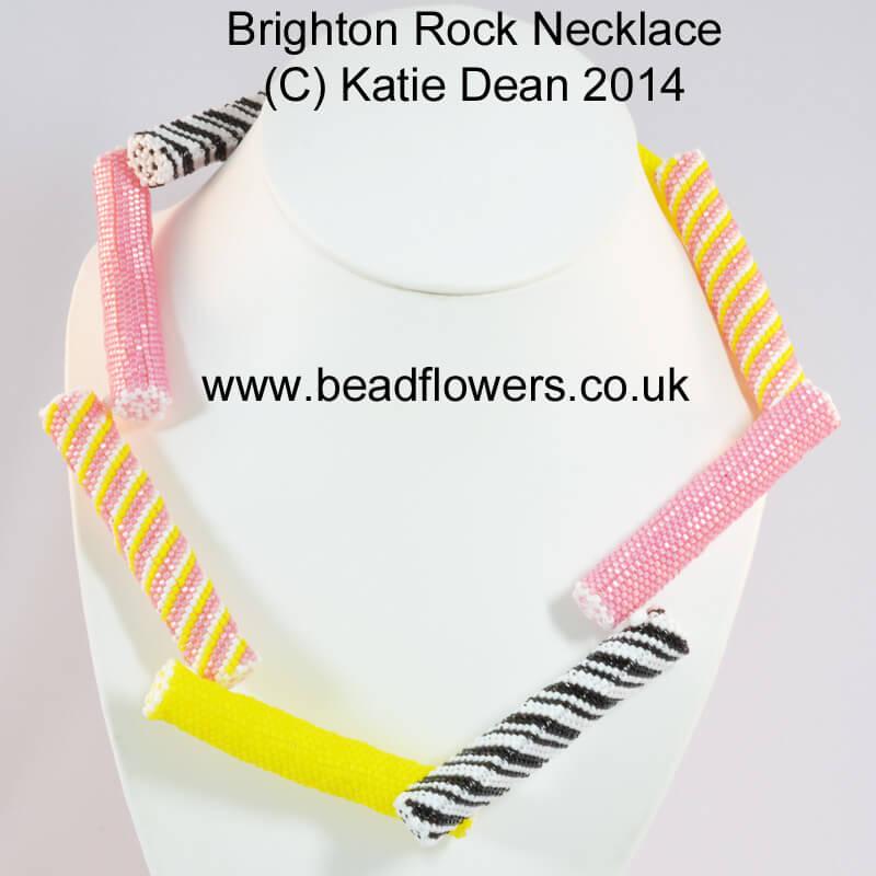 Brighton Rock Necklace Beading Pattern in Peyote stitch, by Katie Dean