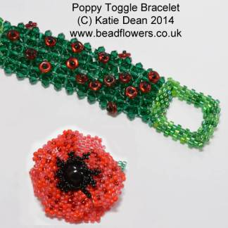 Beaded Poppy Pattern, Beaded Poppy Appeal, Katie Dean, Beadflowers