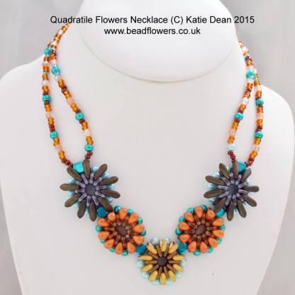 Quadra Tiles bead flower necklace pattern by Katie Dean, Beadflowers