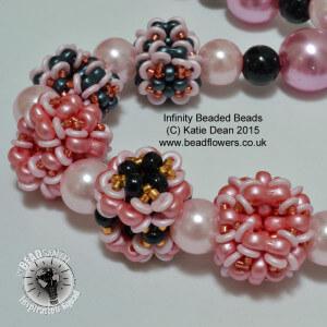 Infinity beads beaded bead necklace pattern, Katie Dean, Beadflowers