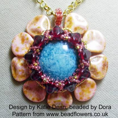 Floral Petal Cabochon Beaded Pendant