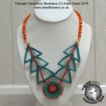 Beaded Triangle Cabochon Necklace