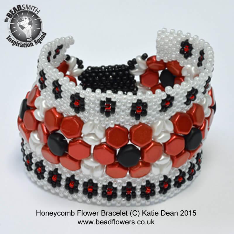 Flower Bracelet Pattern with Honeycomb Beads by Katie Dean, Beadflowers