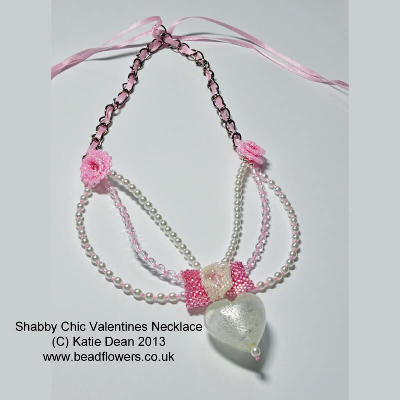 Valentine Shabby Chic necklace patter, Katie Dean, Beadflowers, Valentine beading ideas