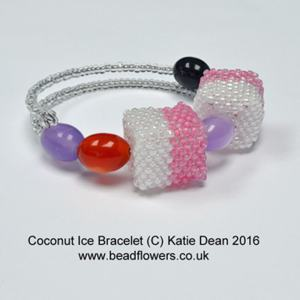 Coconut ice bracelet pattern, Katie Dean, Beadflowers