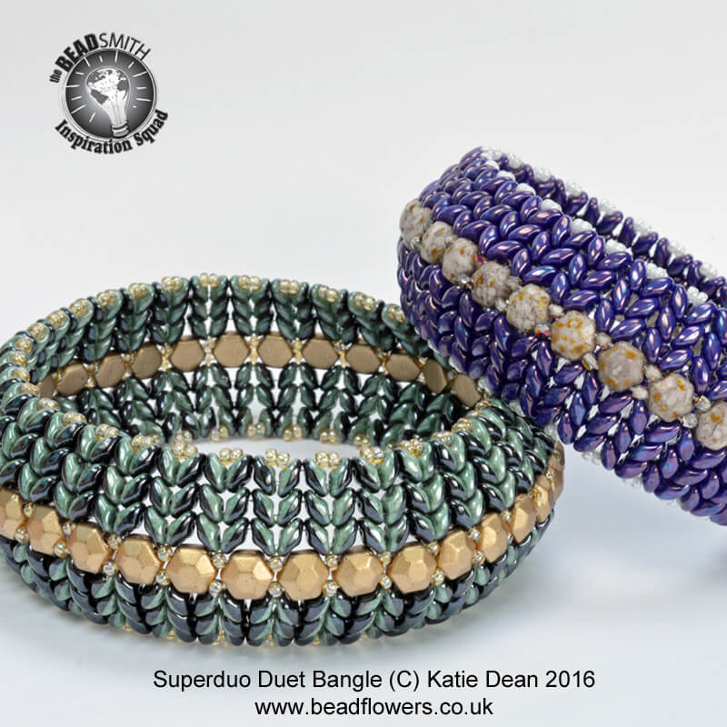 New Bead Designs, Great beading designs, Superduo Duet Bangle Pattern, bead and jewellery magazine, Katie Dean, beadflowers