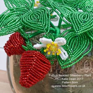 French beaded strawberry plant, Katie Dean, Beadflowers