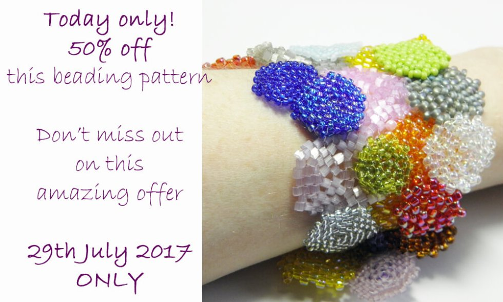 Hexagon Patchwork Bracelet Beading Pattern by Katie Dean, Beadflowers