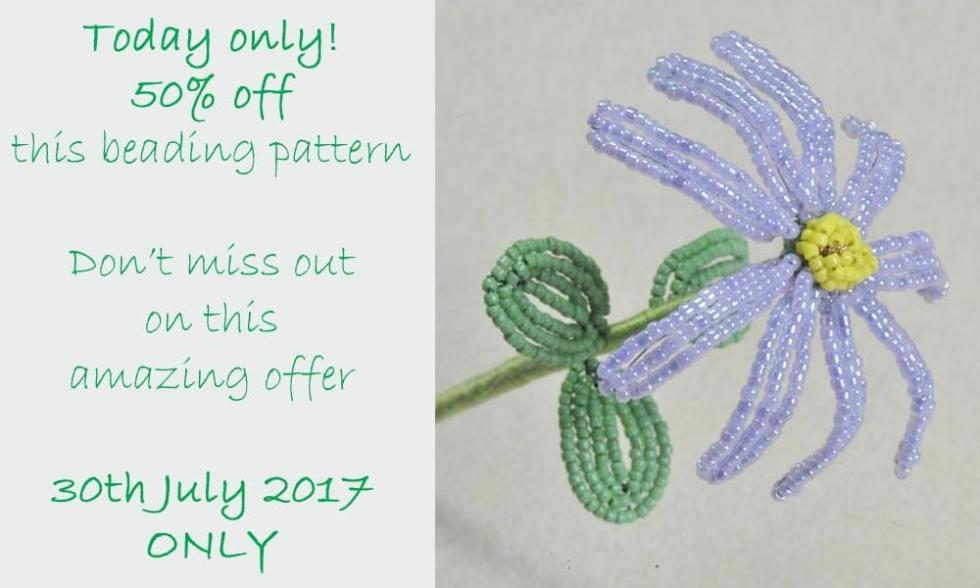 French beaded oxeye daisy pattern, Katie Dean, Beadflowers