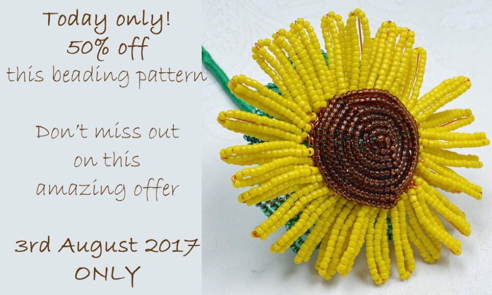 French beaded sunflower pattern by Katie Dean, Beadflowers