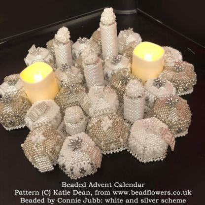 Beaded Advent Calendar, Pattern Katie Dean, Beadflowers