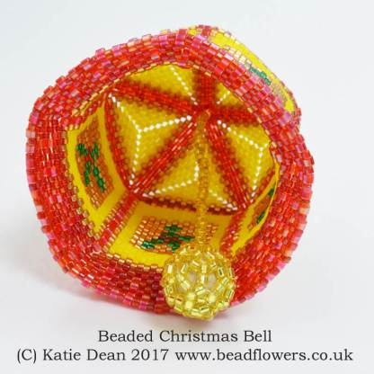 Beaded Christmas Bell Pattern, Katie Dean, Beadflowers