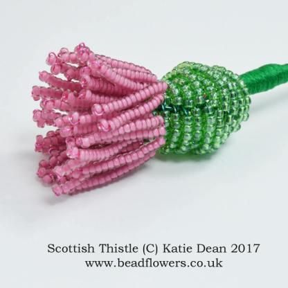 Scottish Thistle French Beading Pattern, Katie Dean, Beadflowers