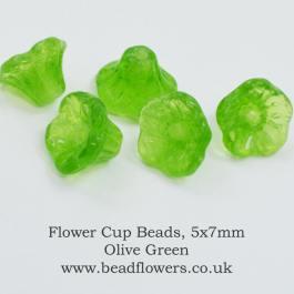 Flower Cup Beads, 5x7mm, Katie Dean, Beadflowers
